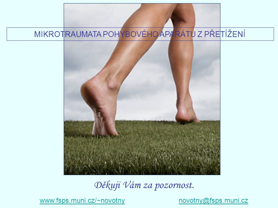 Děkuji Vám za pozornost. www.fsps.muni.cz/~novotnynovotny@fsps.muni.cz MIKROTRAUMATA POHYBOVÉHO APARÁTU Z PŘETÍŽENÍ