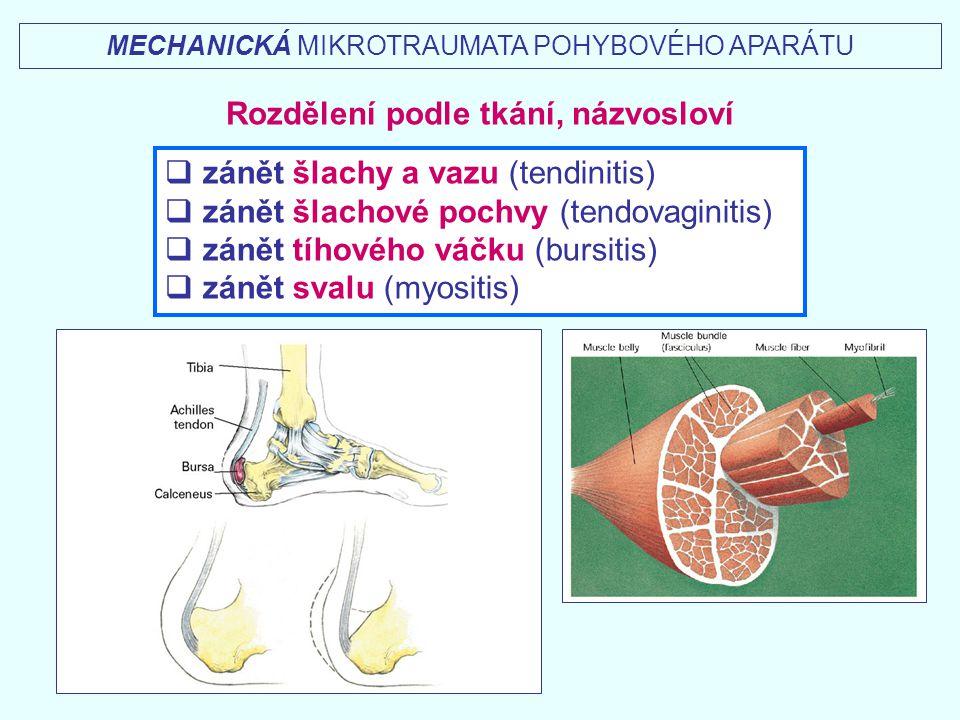 Vývoj mikrotraumat I.akutní fáze (hodiny, dny, týdny) silnější a ostřejší bolest, větší otok, vyšší teplota II.chronická fáze (měsíce, roky) tupější bolest, mírnější otok, nižší teplota III.akutní vzplanutí chronických potíží - exacerbace Diagnostika mikrotraumat pohybového aparátu pozvolný – plíživý začátek bolest při aktivním zatížení, pasivním natažení, stlačení, v klidu otok vyšší teplota v časnějším – akutním stádiu sonografie – 2D, 3D rentgen, Computer Tomography, Nukleární Magnetická Rezonance termografie, termometrie MECHANICKÁ MIKROTRAUMATA POHYBOVÉHO APARÁTU