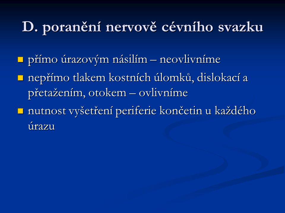 D. poranění nervově cévního svazku přímo úrazovým násilím – neovlivníme přímo úrazovým násilím – neovlivníme nepřímo tlakem kostních úlomků, dislokací