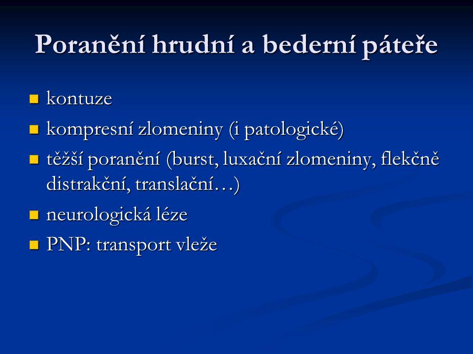 Poranění hrudní a bederní páteře kontuze kontuze kompresní zlomeniny (i patologické) kompresní zlomeniny (i patologické) těžší poranění (burst, luxačn