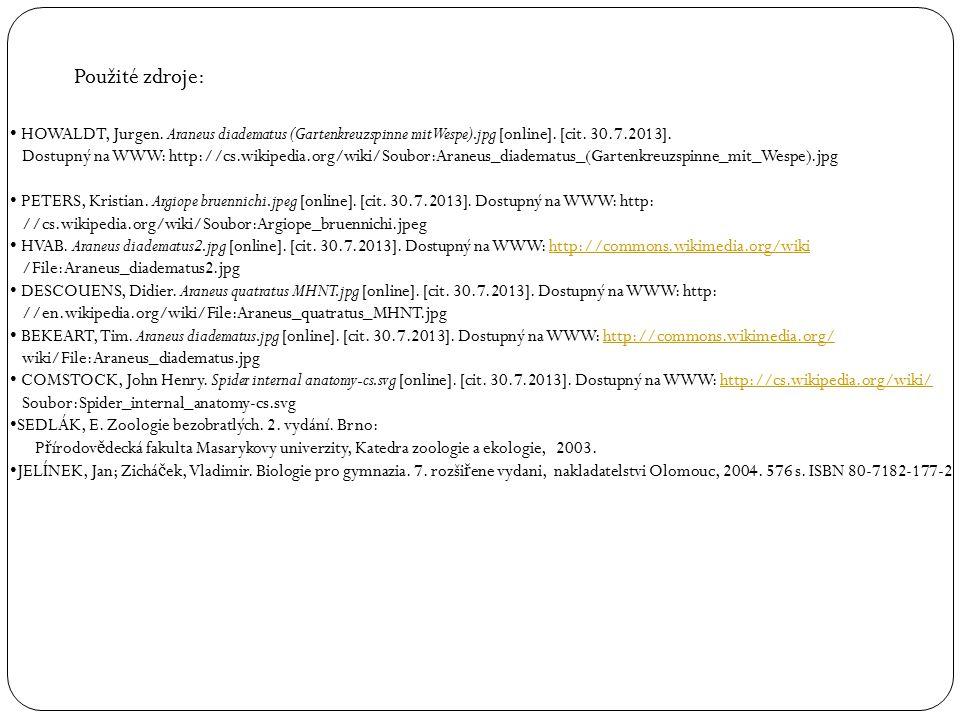 HOWALDT, Jurgen. Araneus diadematus (Gartenkreuzspinne mit Wespe).jpg [online]. [cit. 30.7.2013]. Dostupný na WWW: http://cs.wikipedia.org/wiki/Soubor