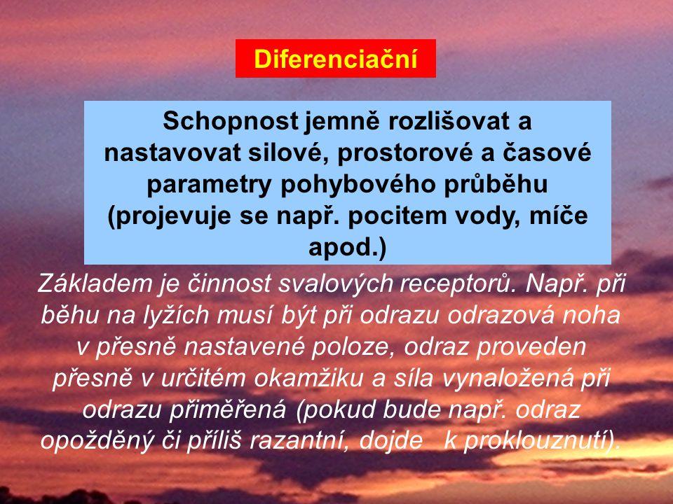 Diferenciační Schopnost jemně rozlišovat a nastavovat silové, prostorové a časové parametry pohybového průběhu (projevuje se např. pocitem vody, míče