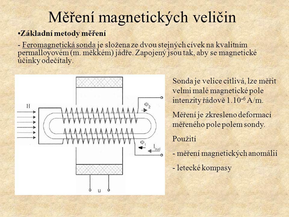Základní metody měření - Feromagnetická sonda je složena ze dvou stejných cívek na kvalitním permalloyovém (m. měkkém) jádře. Zapojený jsou tak, aby s