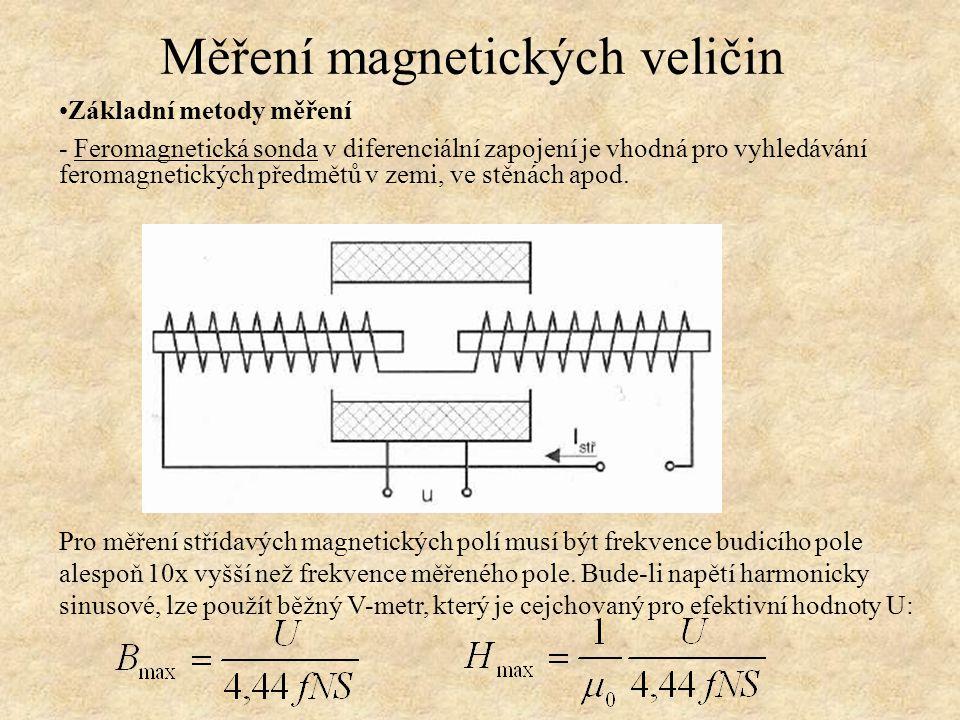 Základní metody měření - Feromagnetická sonda v diferenciální zapojení je vhodná pro vyhledávání feromagnetických předmětů v zemi, ve stěnách apod. Mě