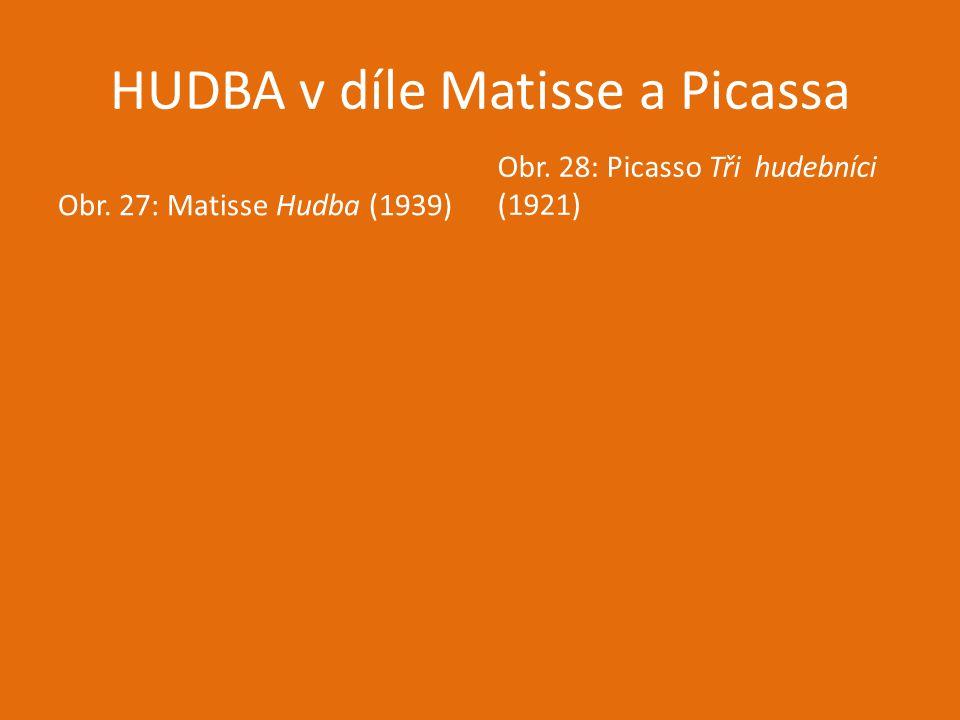 HUDBA v díle Matisse a Picassa Obr. 27: Matisse Hudba (1939) Obr. 28: Picasso Tři hudebníci (1921)