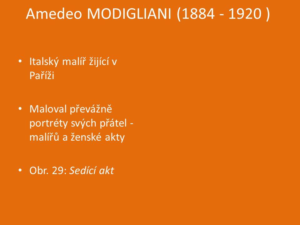 Amedeo MODIGLIANI (1884 - 1920 ) Italský malíř žijící v Paříži Maloval převážně portréty svých přátel - malířů a ženské akty Obr. 29: Sedící akt