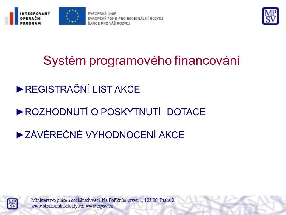 Systém programového financování ►REGISTRAČNÍ LIST AKCE ►ROZHODNUTÍ O POSKYTNUTÍ DOTACE ►ZÁVĚREČNÉ VYHODNOCENÍ AKCE
