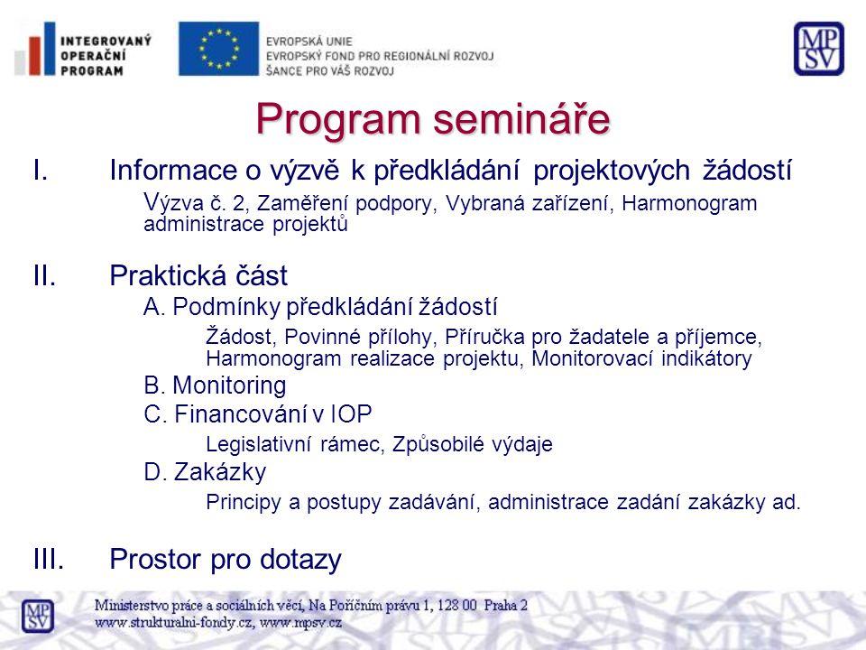 Program semináře I.Informace o výzvě k předkládání projektových žádostí V ýzva č.