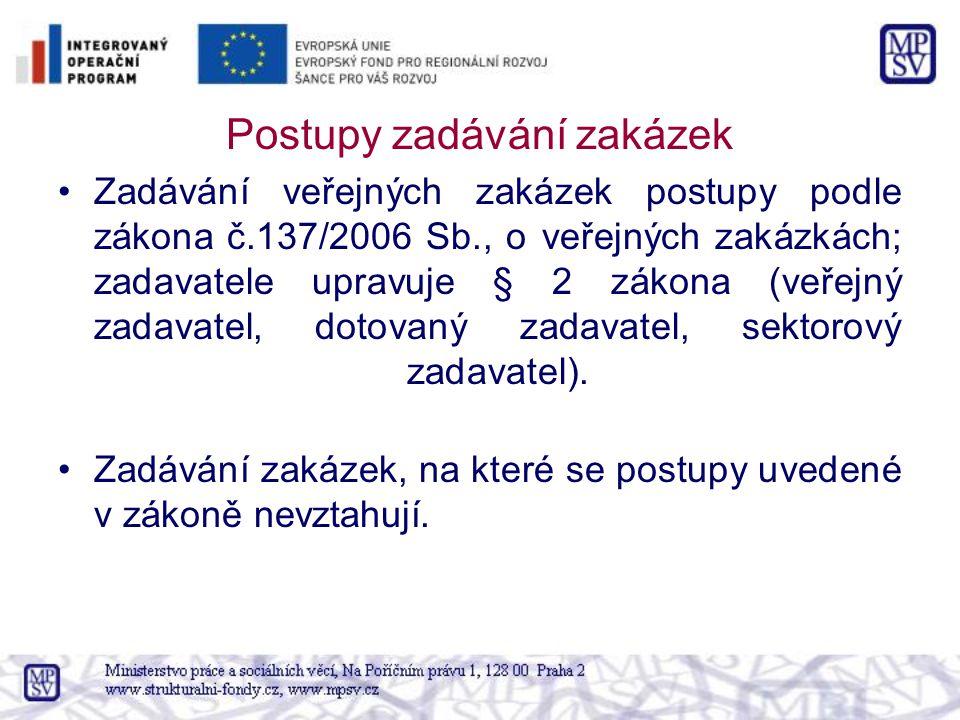 Postupy zadávání zakázek Zadávání veřejných zakázek postupy podle zákona č.137/2006 Sb., o veřejných zakázkách; zadavatele upravuje § 2 zákona (veřejný zadavatel, dotovaný zadavatel, sektorový zadavatel).