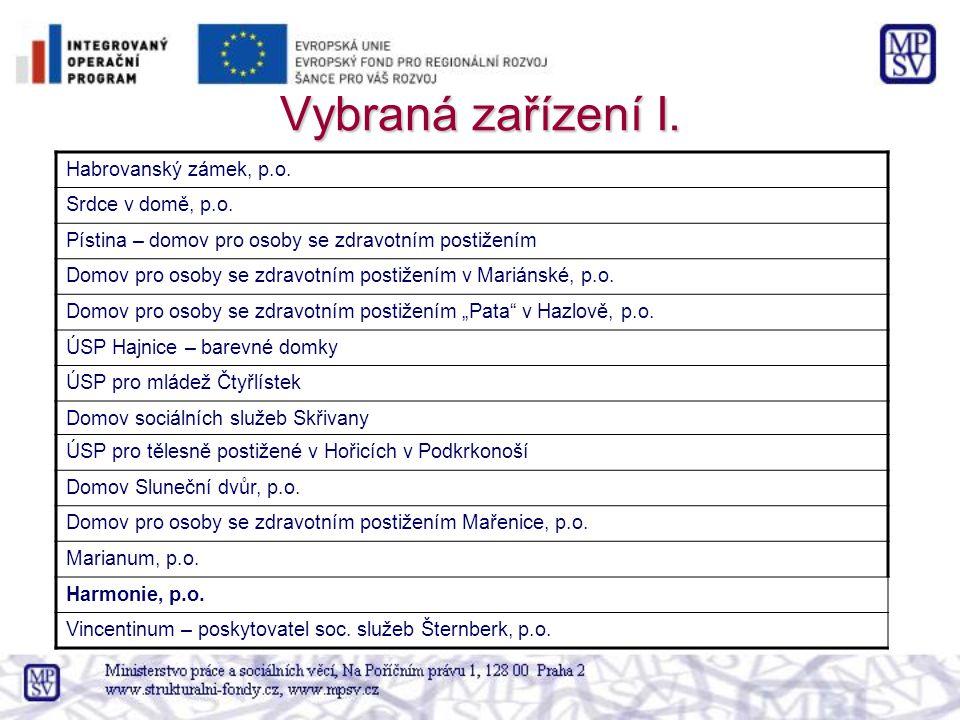 Vybraná zařízení I.Habrovanský zámek, p.o. Srdce v domě, p.o.