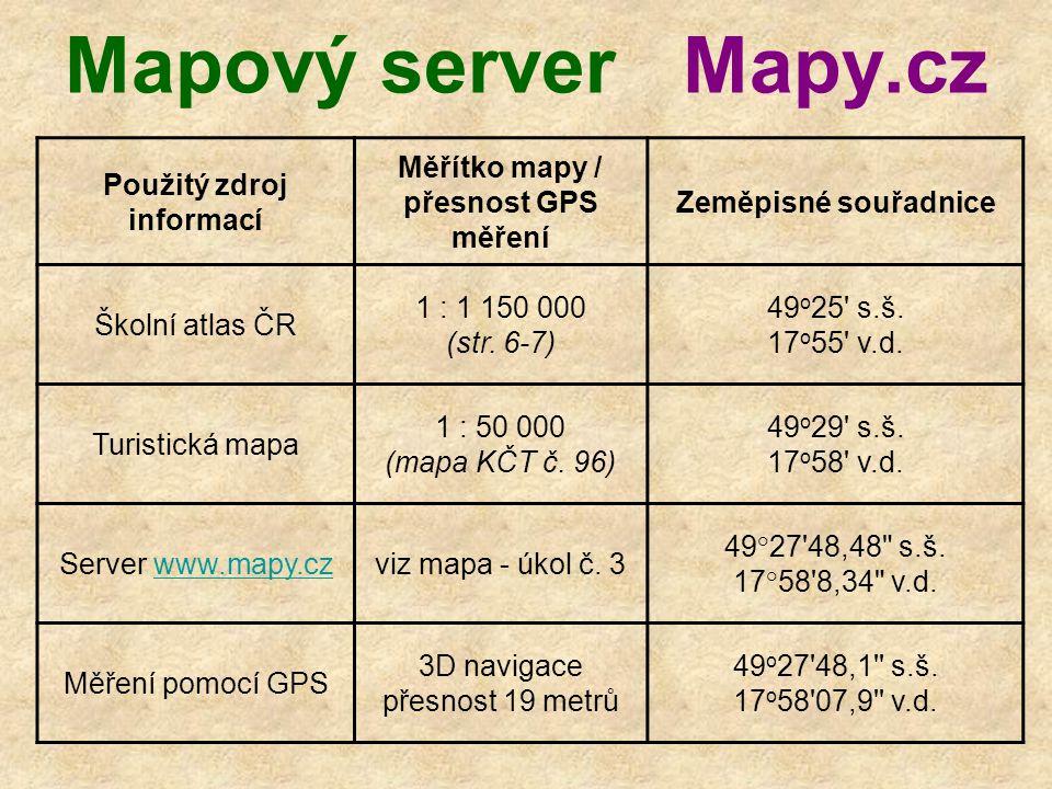 Mapový server Mapy.cz Použitý zdroj informací Měřítko mapy / přesnost GPS měření Zeměpisné souřadnice Školní atlas ČR 1 : 1 150 000 (str.