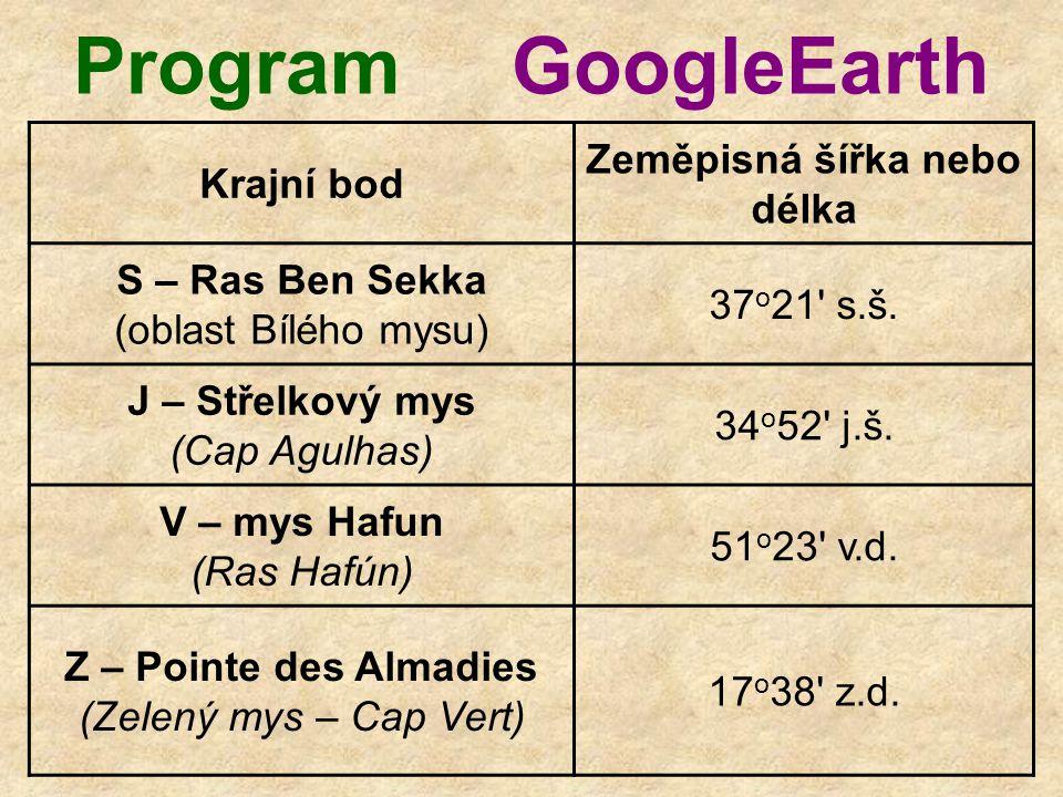 Program GoogleEarth Krajní bod Zeměpisná šířka nebo délka S – Ras Ben Sekka (oblast Bílého mysu) 37 o 21 s.š.