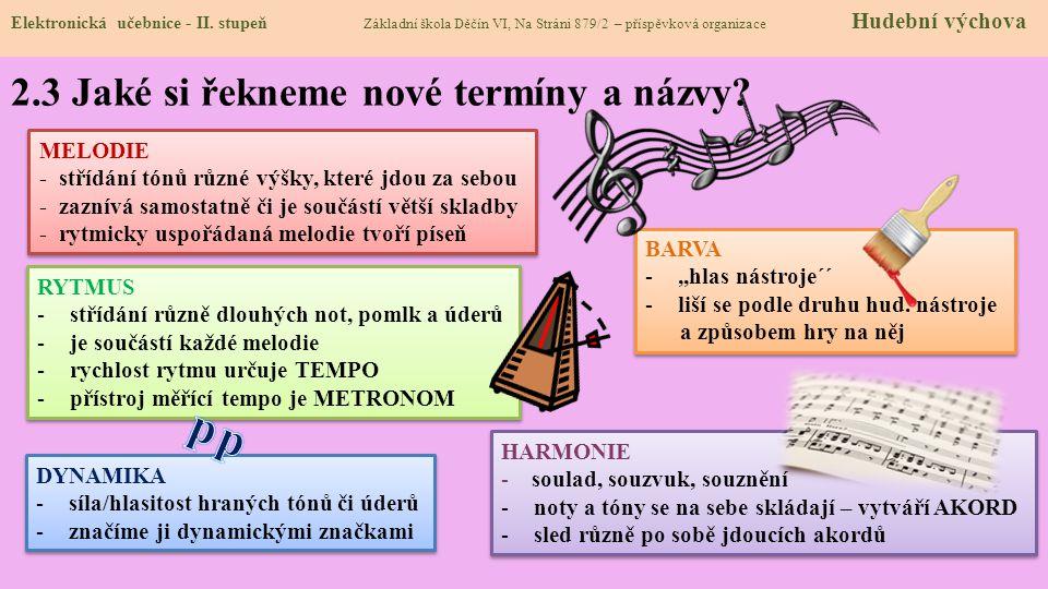 2.3 Jaké si řekneme nové termíny a názvy? Elektronická učebnice - II. stupeň Základní škola Děčín VI, Na Stráni 879/2 – příspěvková organizace Hudební