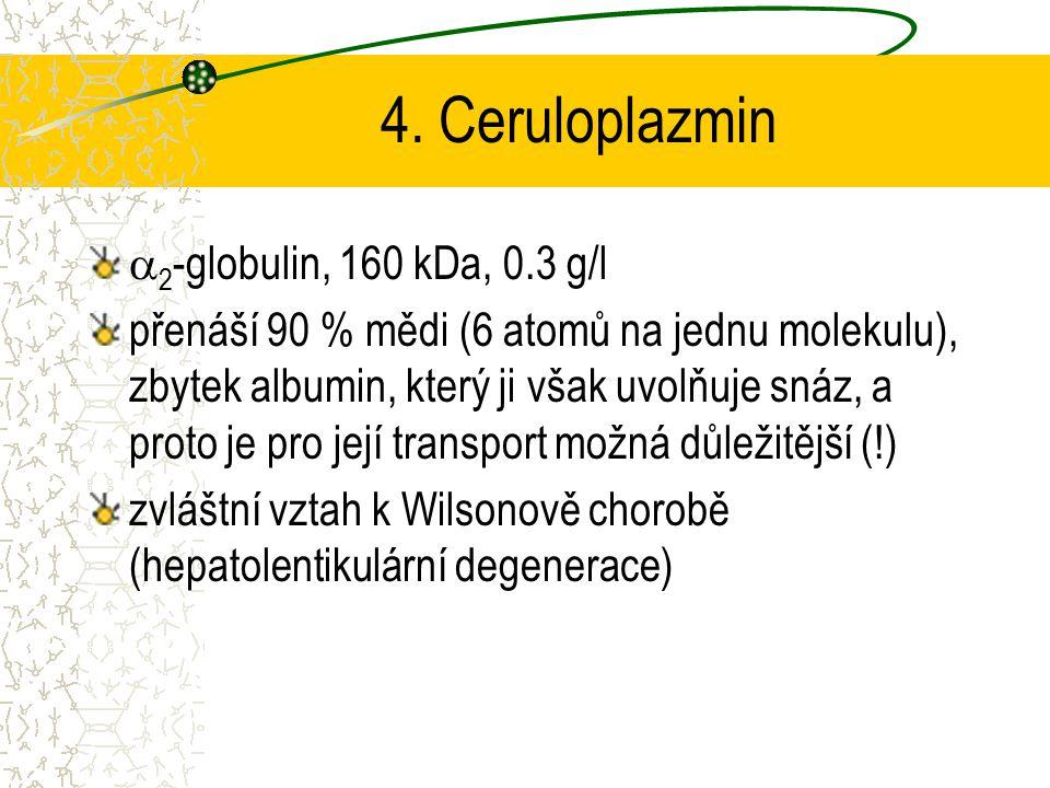 4. Ceruloplazmin  2 -globulin, 160 kDa, 0.3 g/l přenáší 90 % mědi (6 atomů na jednu molekulu), zbytek albumin, který ji však uvolňuje snáz, a proto j