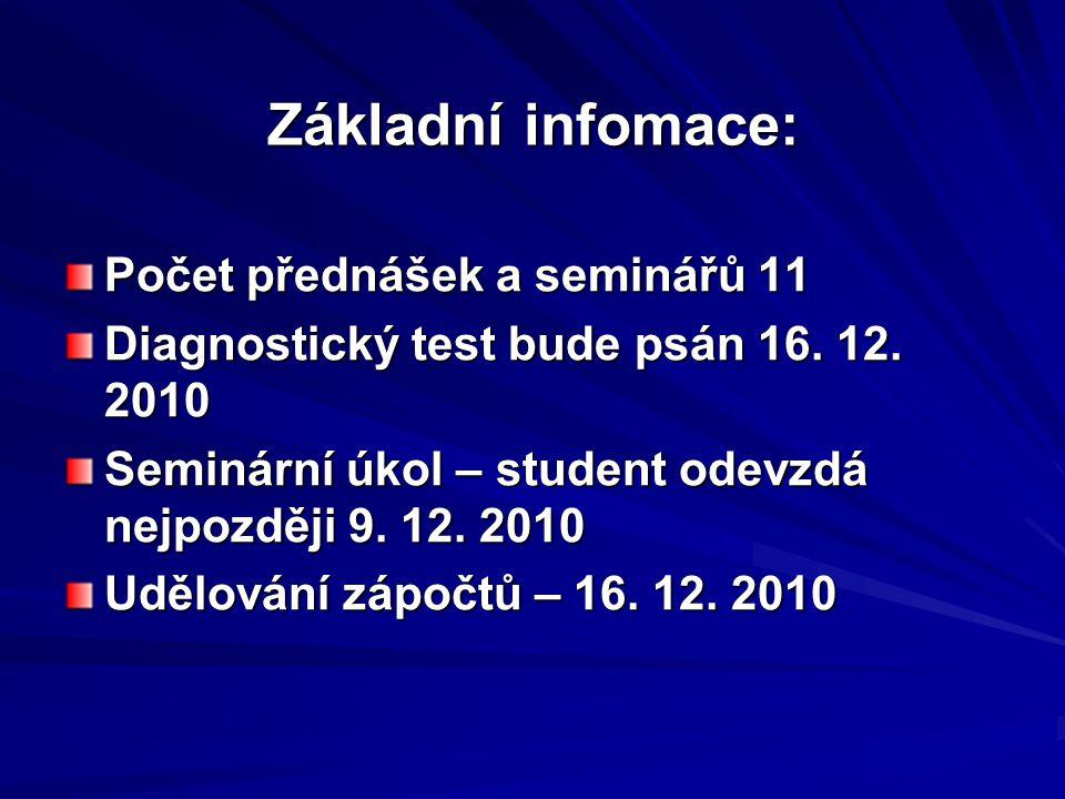 Základní infomace: Počet přednášek a seminářů 11 Diagnostický test bude psán 16.