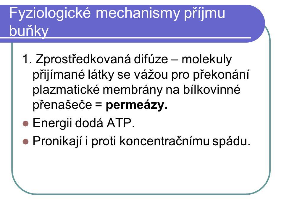 Fyziologické mechanismy příjmu buňky 1.