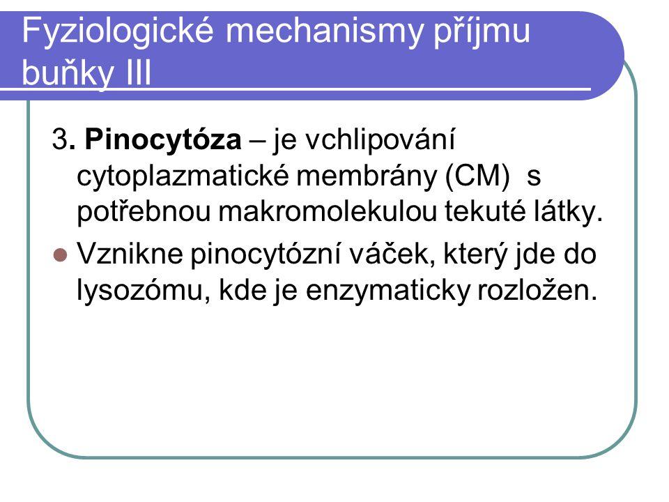 Fyziologické mechanismy příjmu buňky III 3. Pinocytóza – je vchlipování cytoplazmatické membrány (CM) s potřebnou makromolekulou tekuté látky. Vznikne