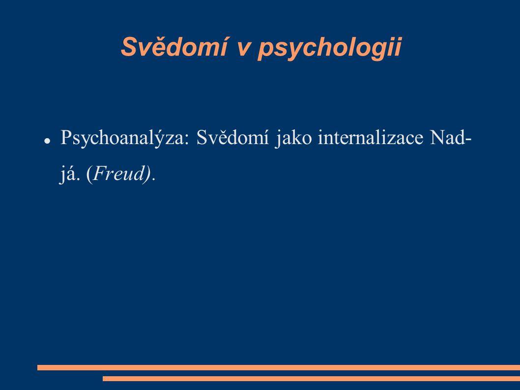 Svědomí v psychologii Psychoanalýza: Svědomí jako internalizace Nad- já. (Freud).