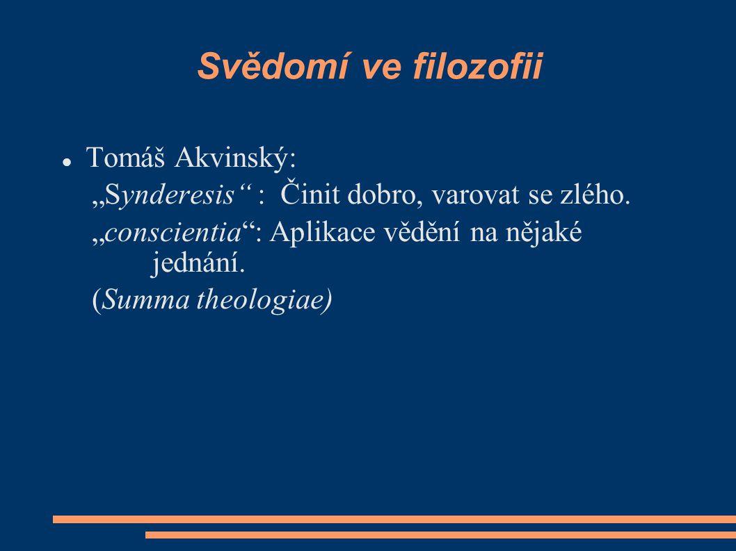 """Svědomí ve filozofii Tomáš Akvinský: """"Synderesis : Činit dobro, varovat se zlého."""