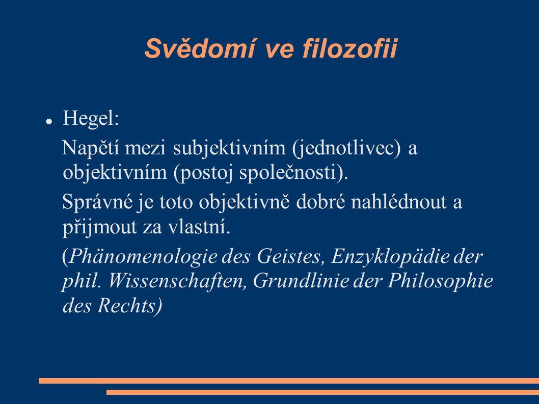 Svědomí ve filozofii Hegel: Napětí mezi subjektivním (jednotlivec) a objektivním (postoj společnosti).