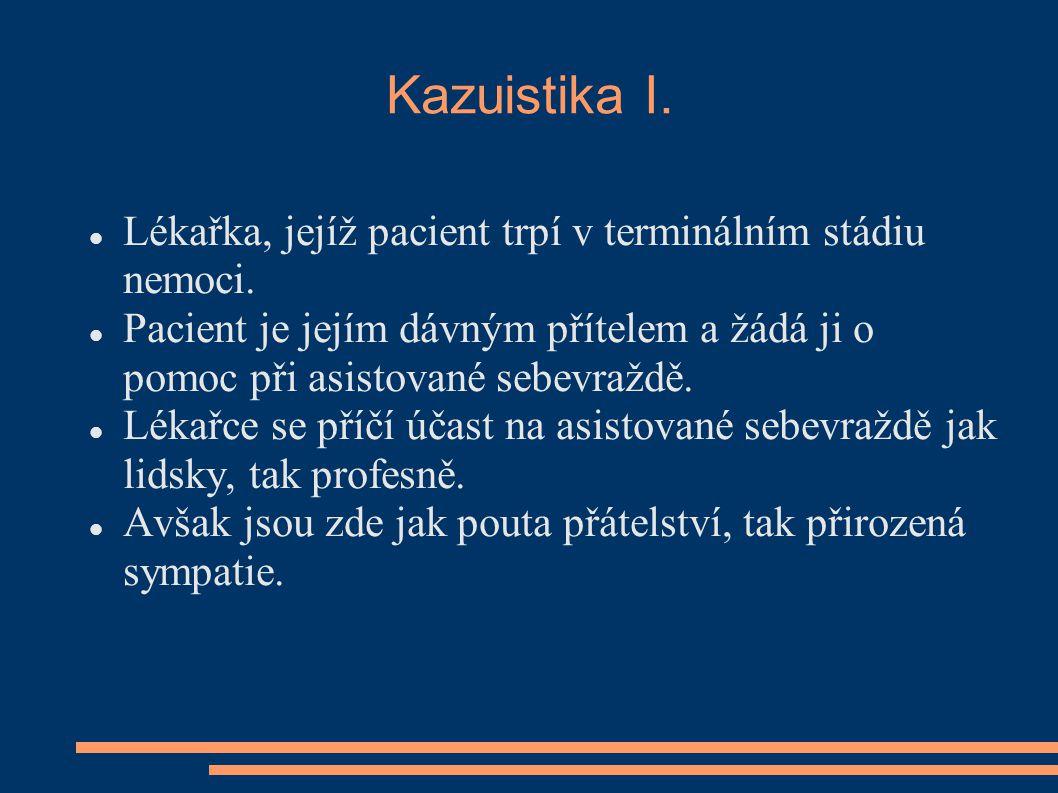 Kazuistika I.Lékařka, jejíž pacient trpí v terminálním stádiu nemoci.