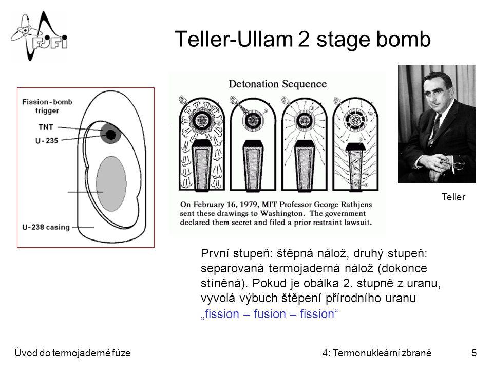Úvod do termojaderné fúze4: Termonukleární zbraně6 Teller-Ullam 2 stage bomb Na termonukleární nálož působí 3 tlaky: záření, plazmatu (z výplně) a odpařujícího se obalu 2.