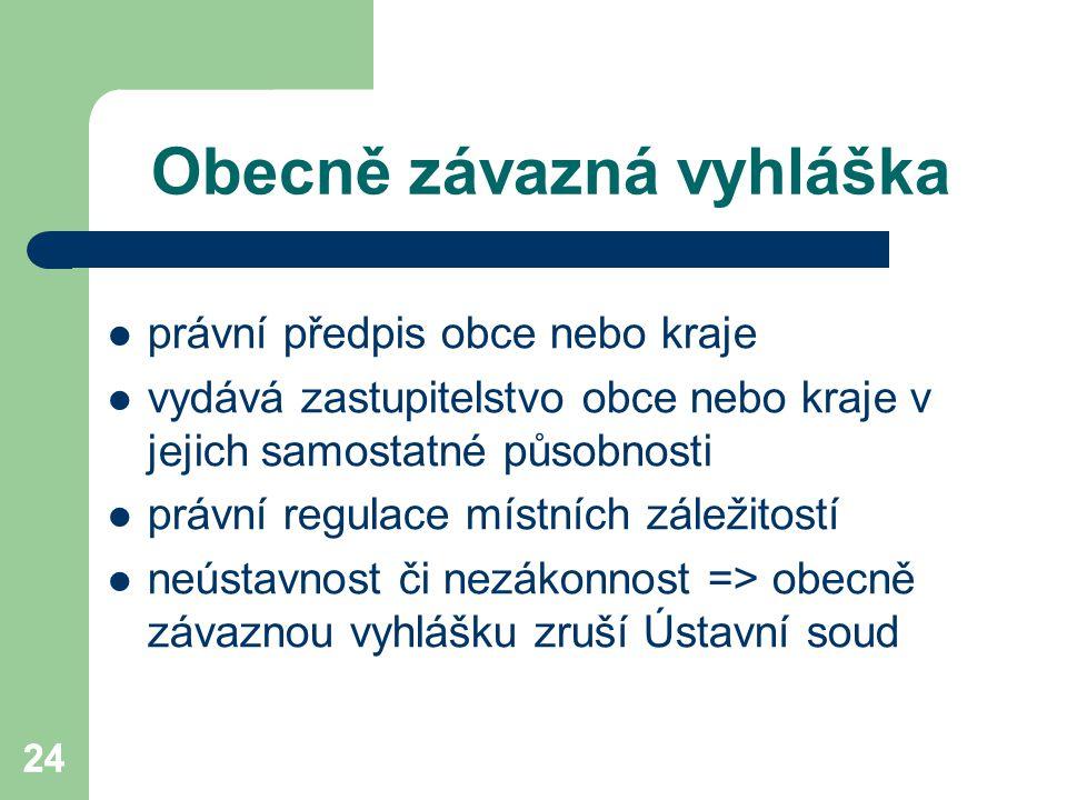 24 Obecně závazná vyhláška právní předpis obce nebo kraje vydává zastupitelstvo obce nebo kraje v jejich samostatné působnosti právní regulace místníc