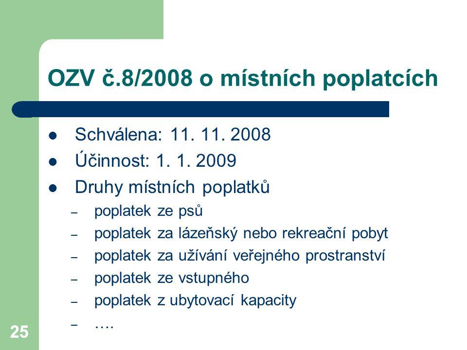 25 OZV č.8/2008 o místních poplatcích Schválena: 11. 11. 2008 Účinnost: 1. 1. 2009 Druhy místních poplatků – poplatek ze psů – poplatek za lázeňský ne