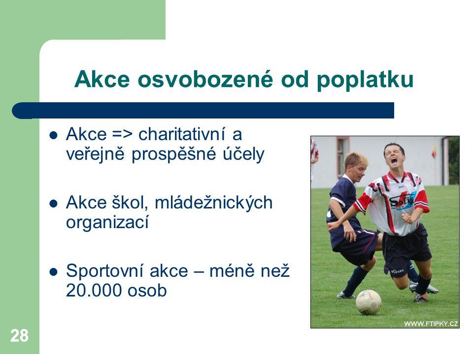 28 Akce osvobozené od poplatku Akce => charitativní a veřejně prospěšné účely Akce škol, mládežnických organizací Sportovní akce – méně než 20.000 oso