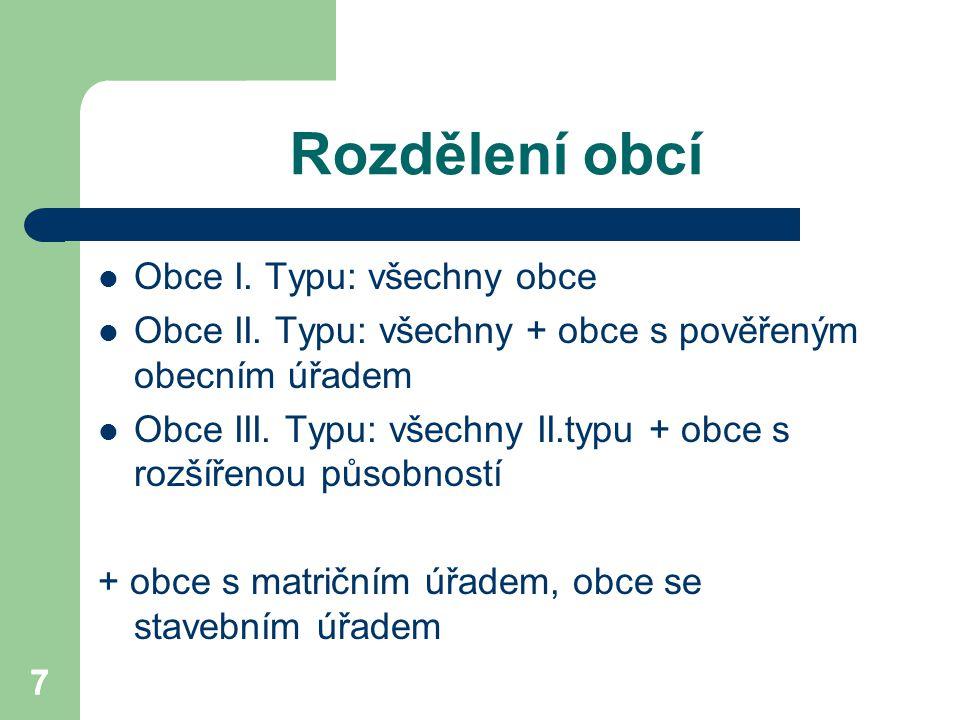 7 Rozdělení obcí Obce I. Typu: všechny obce Obce II. Typu: všechny + obce s pověřeným obecním úřadem Obce III. Typu: všechny II.typu + obce s rozšířen