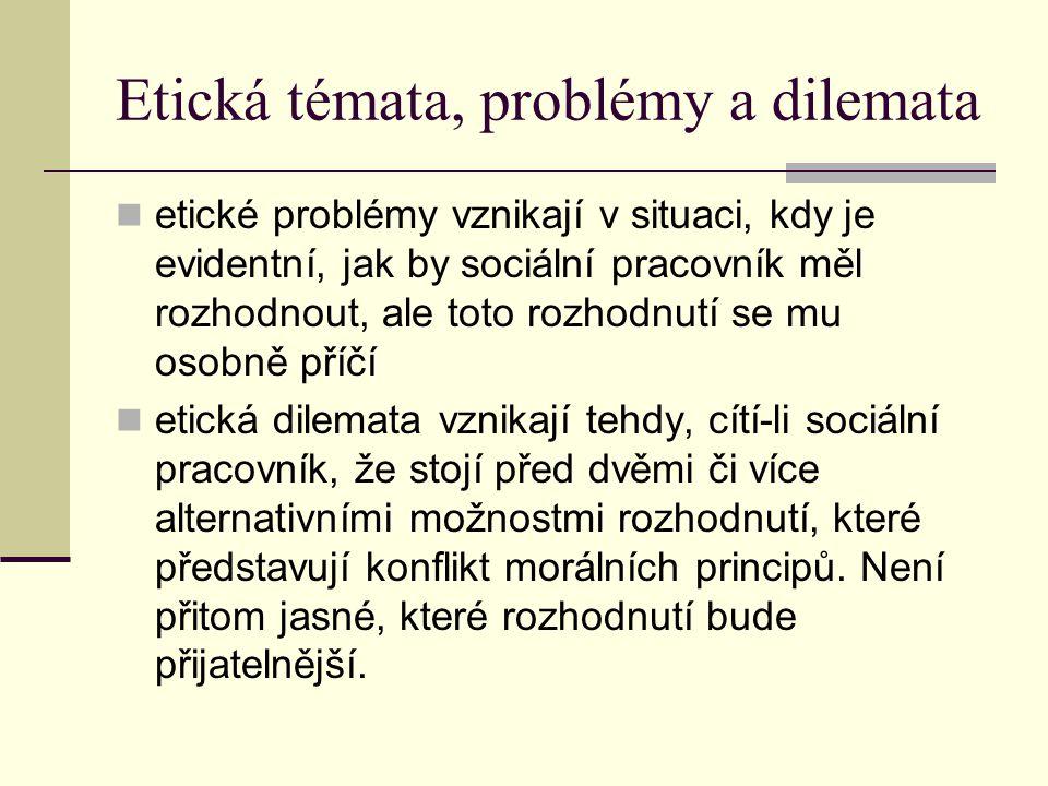 Etická témata, problémy a dilemata etické problémy vznikají v situaci, kdy je evidentní, jak by sociální pracovník měl rozhodnout, ale toto rozhodnutí