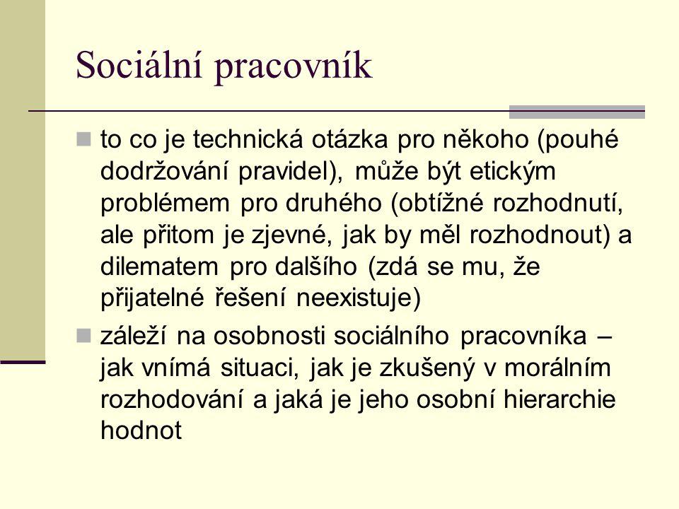 Sociální pracovník to co je technická otázka pro někoho (pouhé dodržování pravidel), může být etickým problémem pro druhého (obtížné rozhodnutí, ale p