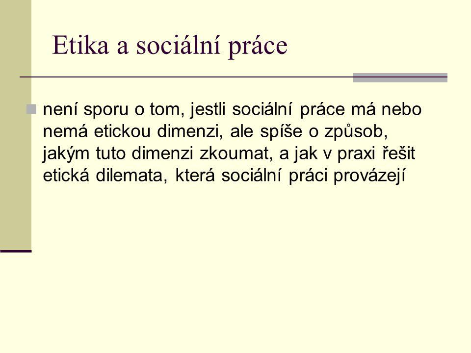 Etika a sociální práce není sporu o tom, jestli sociální práce má nebo nemá etickou dimenzi, ale spíše o způsob, jakým tuto dimenzi zkoumat, a jak v p