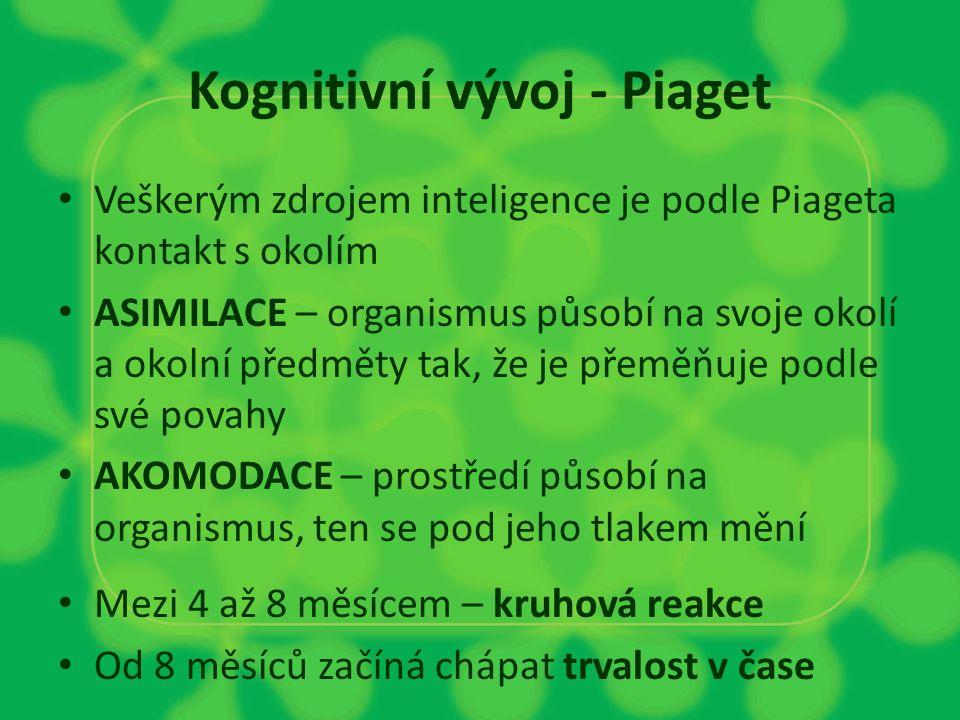Kognitivní vývoj - Piaget Veškerým zdrojem inteligence je podle Piageta kontakt s okolím ASIMILACE – organismus působí na svoje okolí a okolní předmět
