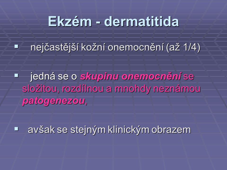 Ekzém - dermatitida  nejčastější kožní onemocnění (až 1/4)  jedná se o skupinu onemocnění se složitou, rozdílnou a mnohdy neznámou patogenezou,  av