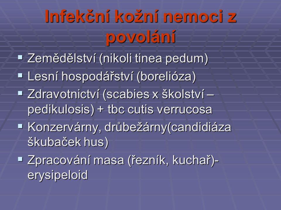 Infekční kožní nemoci z povolání  Zemědělství (nikoli tinea pedum)  Lesní hospodářství (borelióza)  Zdravotnictví (scabies x školství – pedikulosis