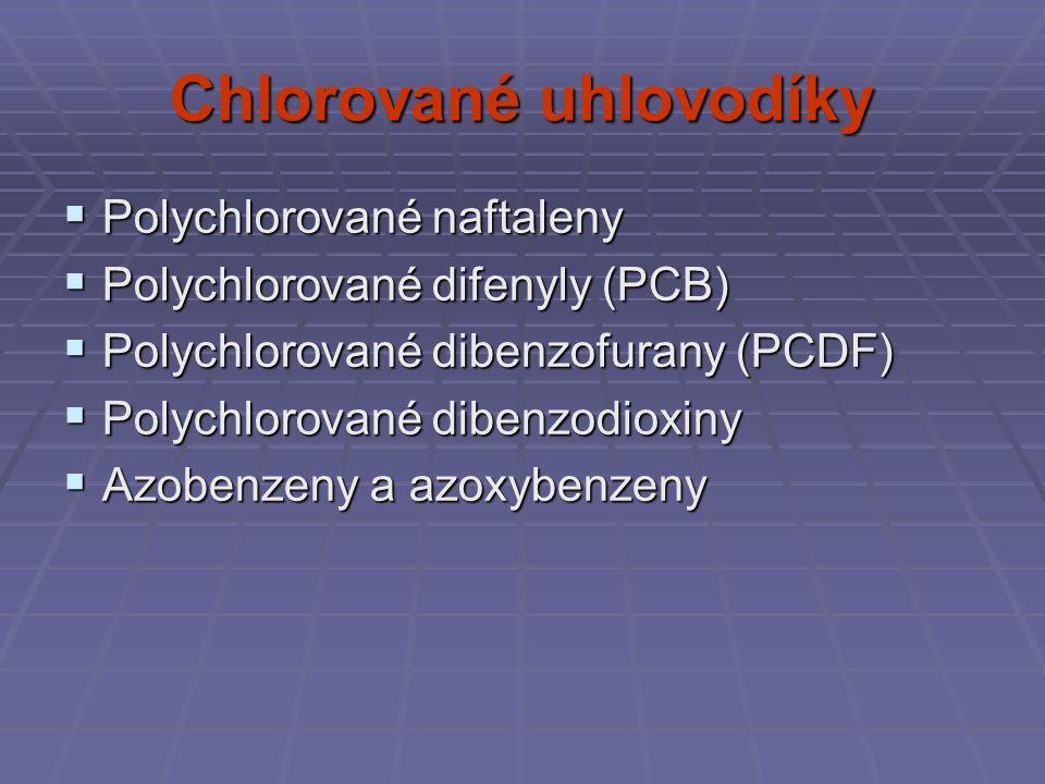 Chlorované uhlovodíky  Polychlorované naftaleny  Polychlorované difenyly (PCB)  Polychlorované dibenzofurany (PCDF)  Polychlorované dibenzodioxiny