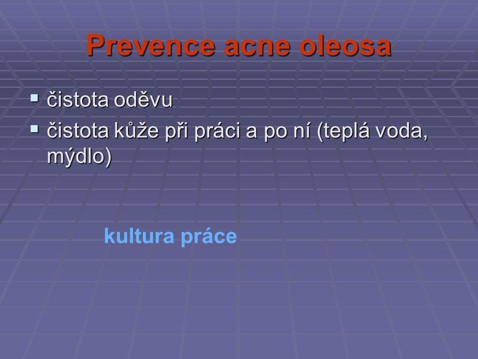 Prevence acne oleosa  čistota oděvu  čistota kůže při práci a po ní (teplá voda, mýdlo) kultura práce