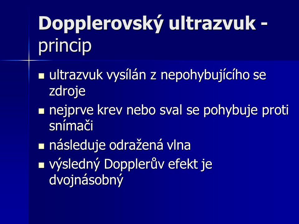 Dopplerovský ultrazvuk - princip ultrazvuk vysílán z nepohybujícího se zdroje ultrazvuk vysílán z nepohybujícího se zdroje nejprve krev nebo sval se p