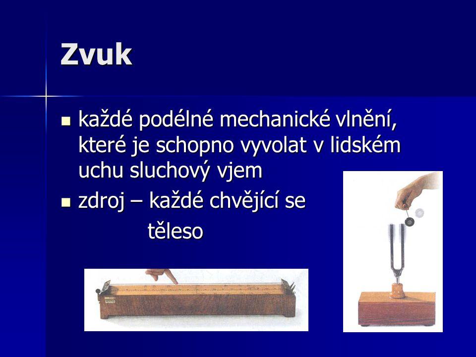 Zvuk každé podélné mechanické vlnění, které je schopno vyvolat v lidském uchu sluchový vjem každé podélné mechanické vlnění, které je schopno vyvolat
