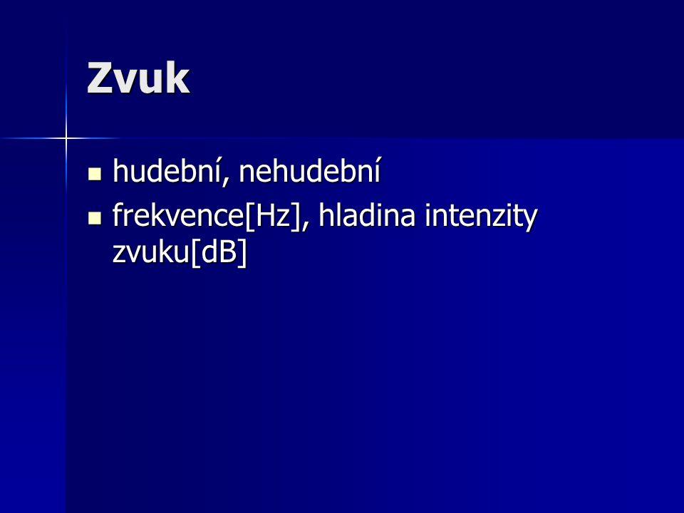 Zvuk hudební, nehudební hudební, nehudební frekvence[Hz], hladina intenzity zvuku[dB] frekvence[Hz], hladina intenzity zvuku[dB]