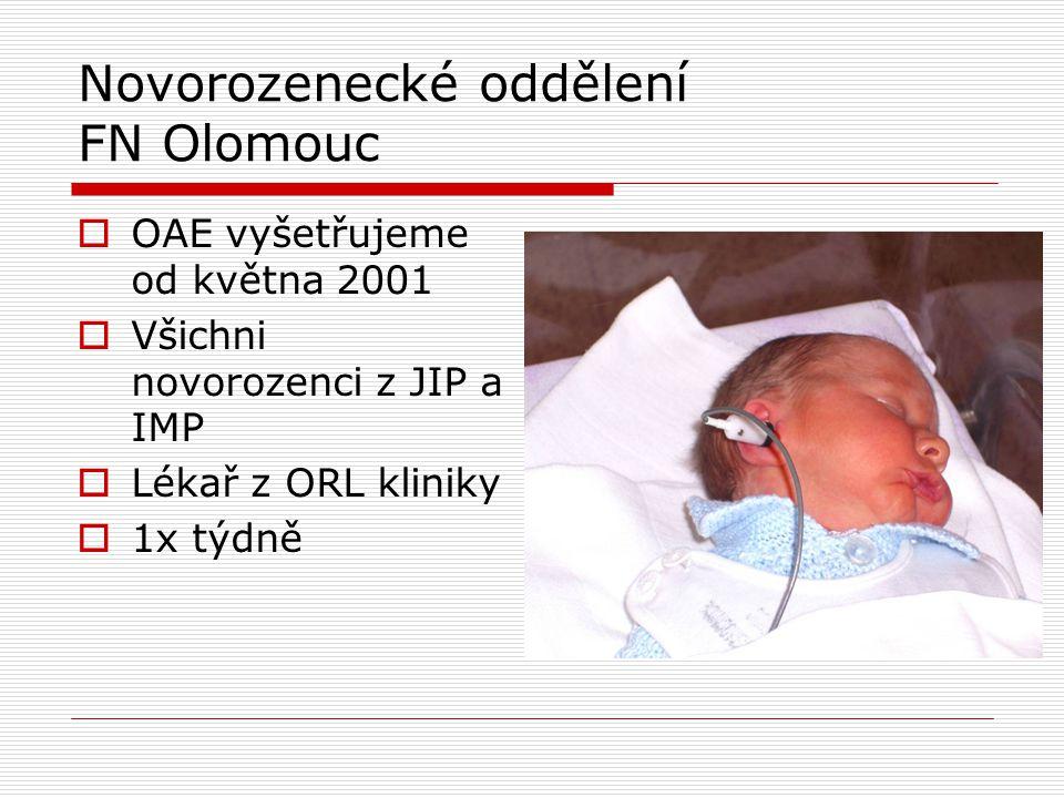 Novorozenecké oddělení FN Olomouc  OAE vyšetřujeme od května 2001  Všichni novorozenci z JIP a IMP  Lékař z ORL kliniky  1x týdně
