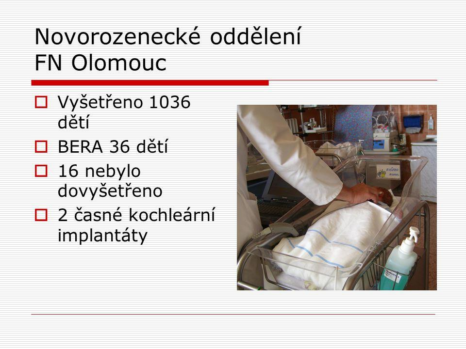  Vyšetřeno 1036 dětí  BERA 36 dětí  16 nebylo dovyšetřeno  2 časné kochleární implantáty