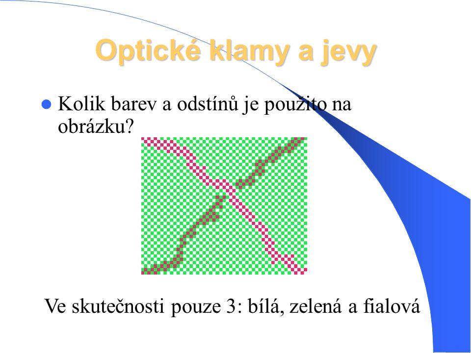 Optické klamy a jevy Kolik barev a odstínů je použito na obrázku? Ve skutečnosti pouze 3: bílá, zelená a fialová