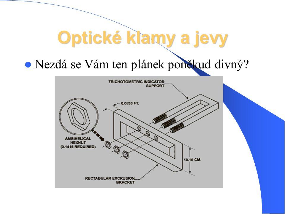 Optické klamy a jevy Nezdá se Vám ten plánek poněkud divný?