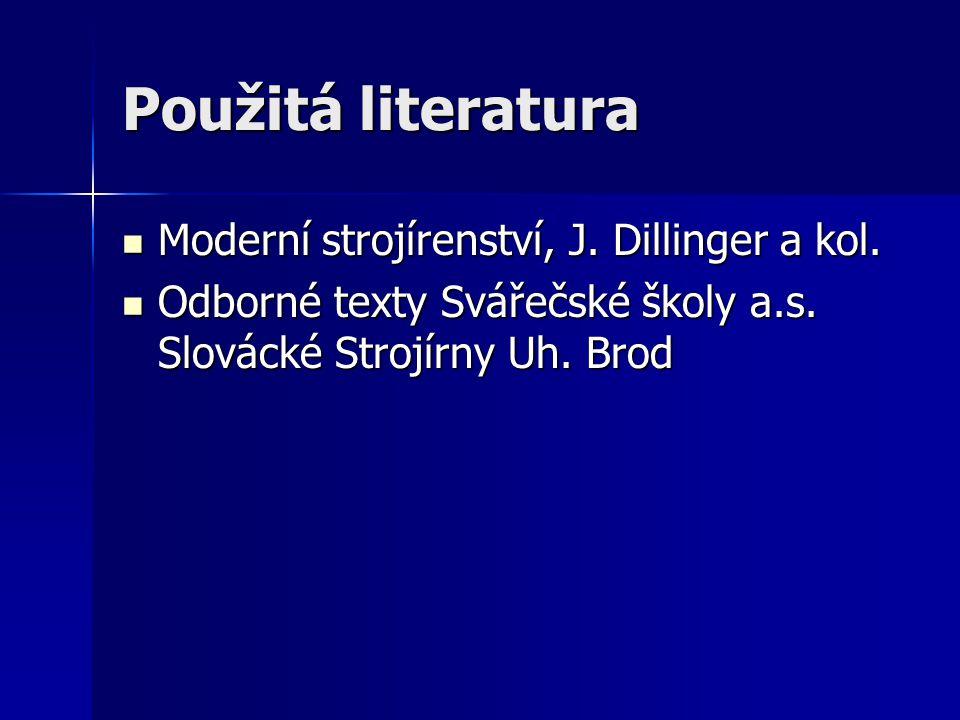 Použitá literatura Moderní strojírenství, J. Dillinger a kol. Moderní strojírenství, J. Dillinger a kol. Odborné texty Svářečské školy a.s. Slovácké S