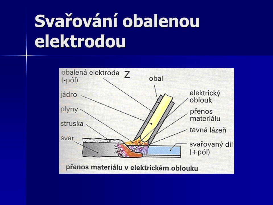 Číselné označení podle ČSN EN E 111 Číselné označení podle ČSN EN E 111 Podle normy DIN-MMA Podle normy DIN-MMA Oblouk se udržuje po zapálení elektrodou (obalenou) a svařovaným materiálem Oblouk se udržuje po zapálení elektrodou (obalenou) a svařovaným materiálem Po vychladnutí vznikne materiálový spoj mezi svařovanými díly Po vychladnutí vznikne materiálový spoj mezi svařovanými díly