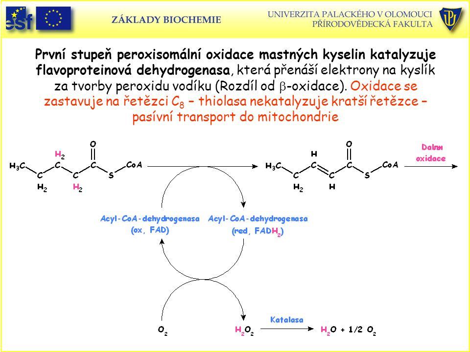 První stupeň peroxisomální oxidace mastných kyselin katalyzuje flavoproteinová dehydrogenasa, která přenáší elektrony na kyslík za tvorby peroxidu vod
