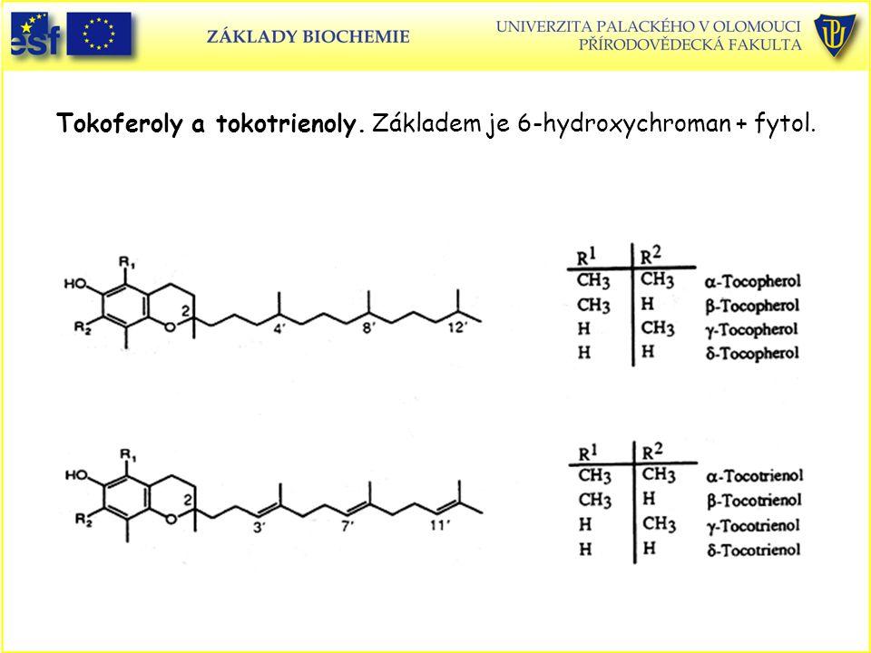 Tokoferoly a tokotrienoly. Základem je 6-hydroxychroman + fytol.