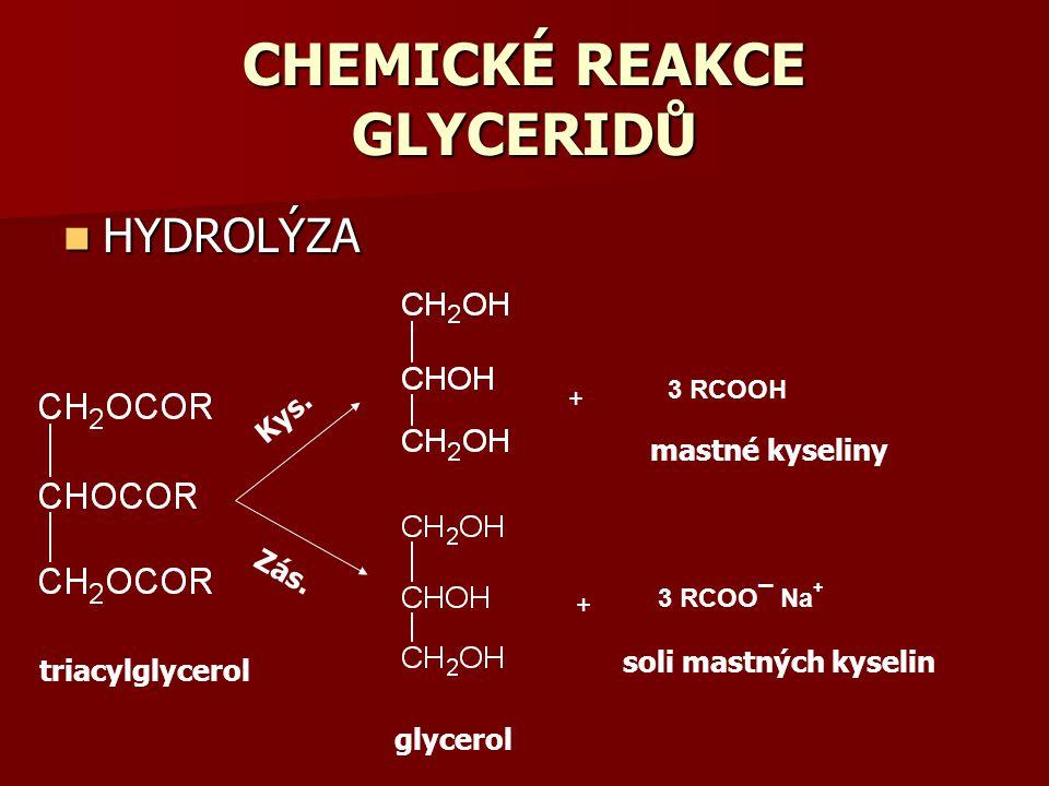 triacylglycerol glycerol + 3 RCOOH + 3 RCOO¯ Na + mastné kyseliny soli mastných kyselin Kys. Zás. CHEMICKÉ REAKCE GLYCERIDŮ HYDROLÝZA HYDROLÝZA
